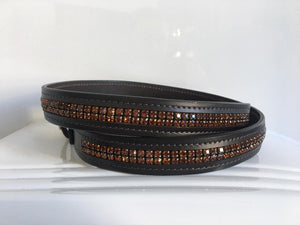 Ascot Belt Brown with Orange Stones