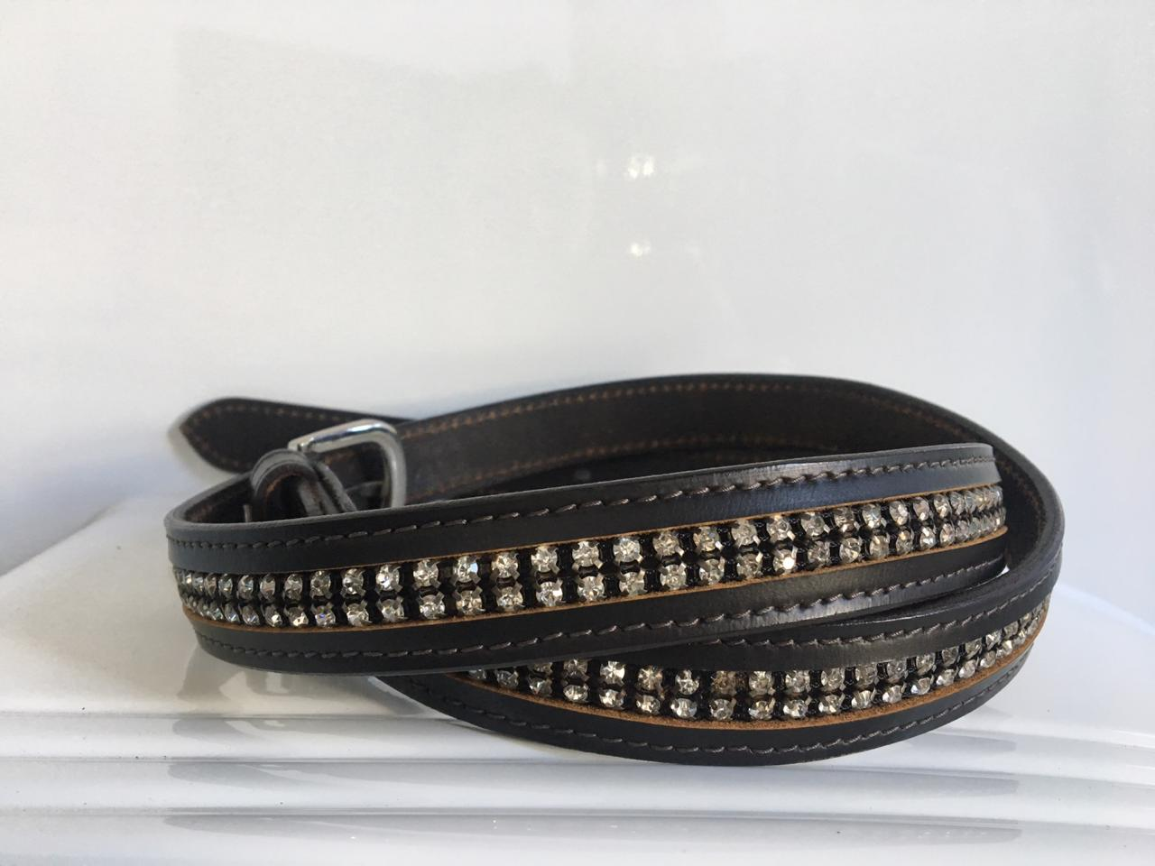 Ascot Belt Black with Silver Stones