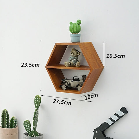 Nordic Style Wooden Decor Wall Mount Hexagonal Frame Books