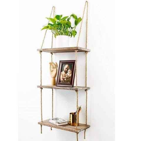 1 2 3 Tier Rustic Wooden Hanging Rope Shelf