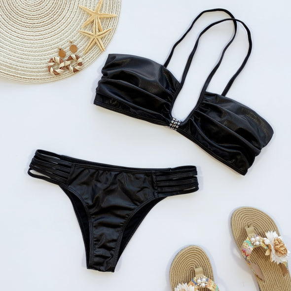Sexy Two Piece Black Cut Out Halter Swimwear