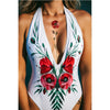 White Floral One-Piece Plung Swimwear