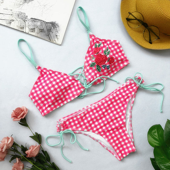 Two-Piece Romantic Print Swimwear