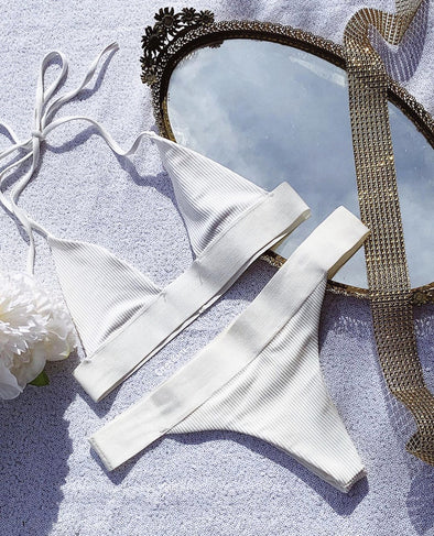Two-Piece White Halter Swimwear
