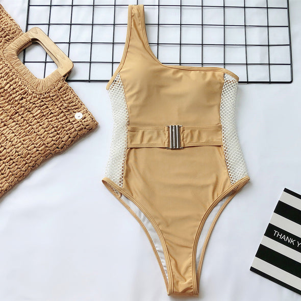Gold One Shoulder Hollow Out Swimwear