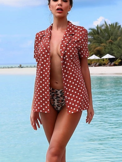 Polka Print Beach Blouse
