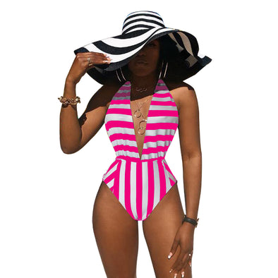 Deep-V One-Piece Stripped Swimsuit