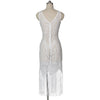 White Lace Fringe Cover Up