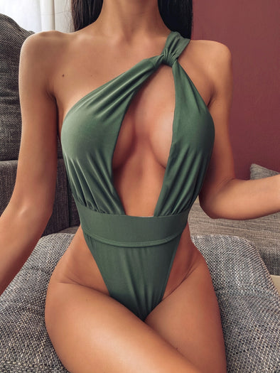 High Cut One Shoulder Cut Out Swimsuit