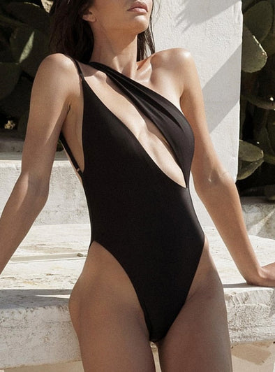 High Cut One Shoulder Sexy Swimwear