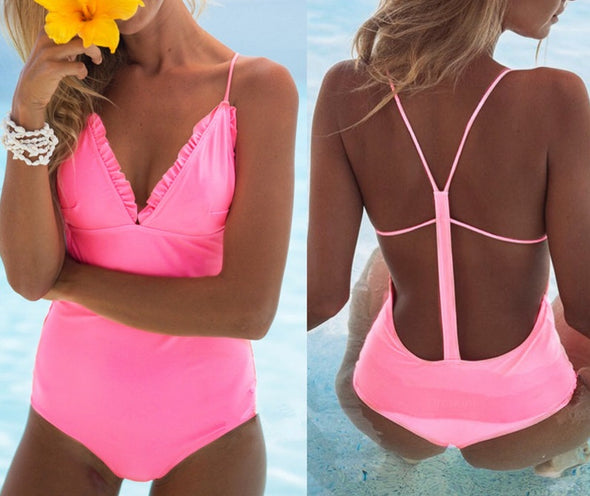 One-Piece Solid Straps Ruffles Swimwear