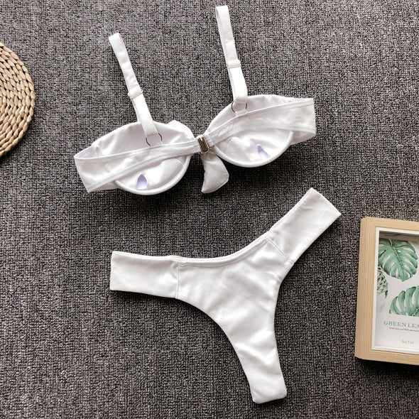 White Simple Two-Piece Tied Swimwear