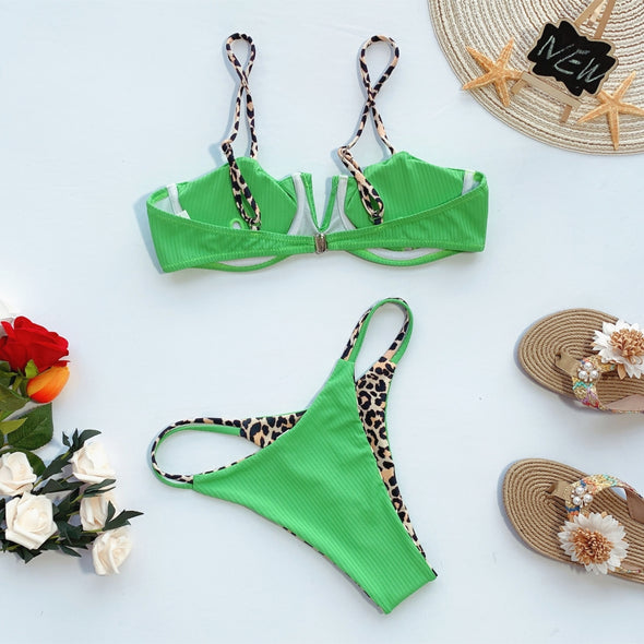 Leopard Print Two-Piece Straps Swimwear