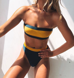 Two-Piece Block Color Bandeau Swimwear
