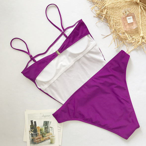 One-Piece High Cut Straps Swimwear