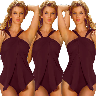 Plain Color Halter One Piece Swimsuit 24784-5