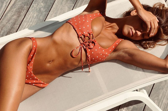 Red Lace Up Polka Swimwear