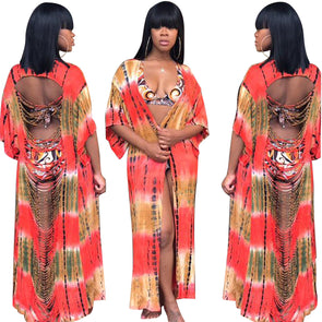 Fashion Orange Ripped Beach Cover Up Coat 25747-2