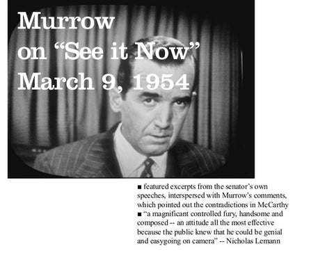 Joseph McCarthy, Repudiation, McCarthyism, Politics, Edward R. Murrow, TV, See It Now...