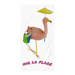 E. P. Lee, https://www.andthepuppyhowls.com/collections/all, Sur La Plage Beach Towel, Flamingo-Family Collection, Big Daddy Collection