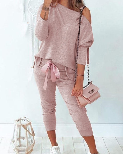 Solid One Shoulder Bowknot Design Top & Pant Set