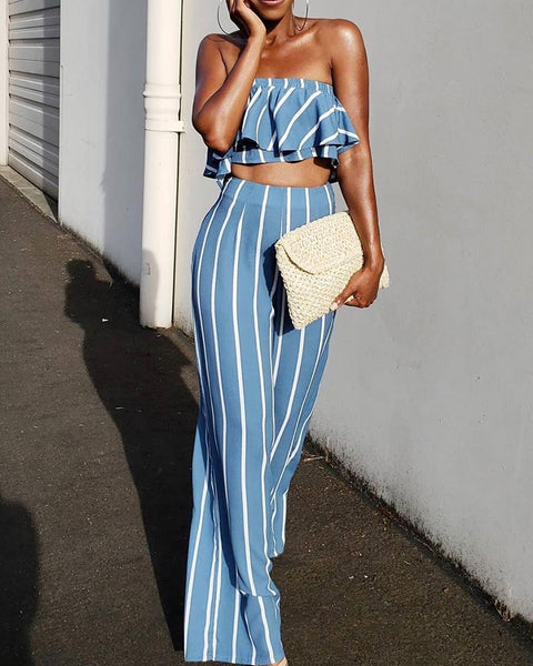Striped Ruffles Bandeau Top & Pant Set