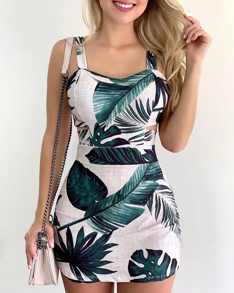 Thin Strap Tropical Print Casual Dress