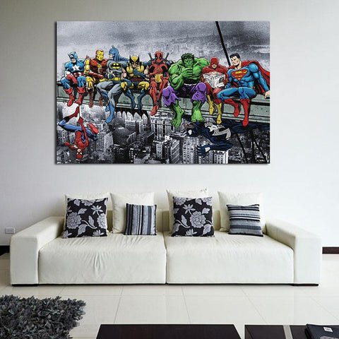Marvel Heroes Decoration Painting The Avengers Superman Spiderman Thor Wall Decoration Hanging Painting Canvas Wall Art Quadro