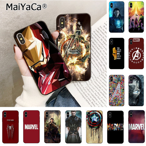Maiyaca Deadpool Iron Man Marvel Avengers  Pattern TPU Soft Phone Case for iPhone 8 7 6 6S Plus X Xs Xr XsMax 5 5S SE 5C Case
