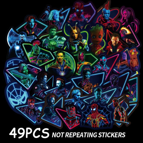 49/50PCS The Avengers Stickers Toys Cute Cartoon Style Super Hero No Repeat For Car Laptop PVC Waterproof For Children Gift F2