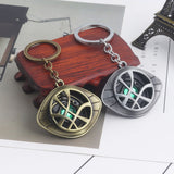 Avengers Doctor Strange Keychain Antique Silver Bronze Green Crystal Eye of Agamotto Key Chain for Women Men Car Keyring Jewelry