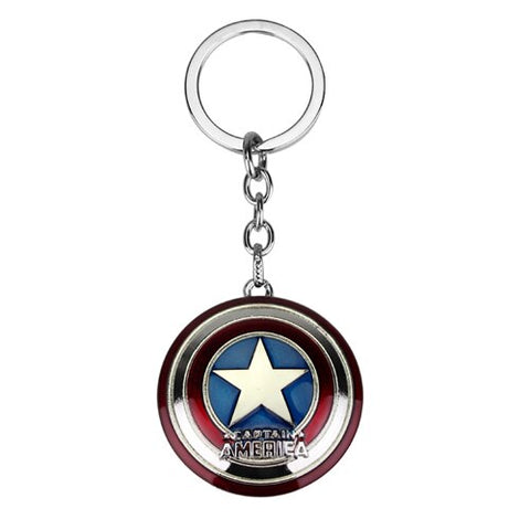 Movie Avengers 4 Character Captain America Shield Alloy Keychain Action Figure Keyring Key Chain For MenBoy Gift