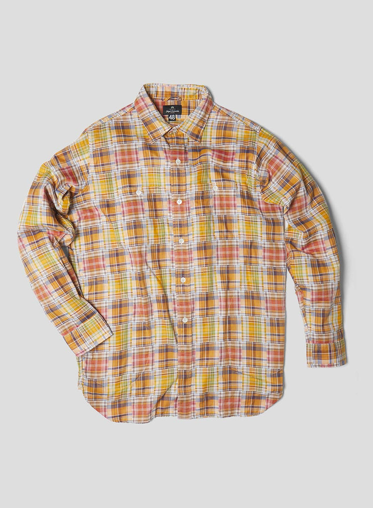Big Shirt in Mix Stripe and Check Yellow Mix