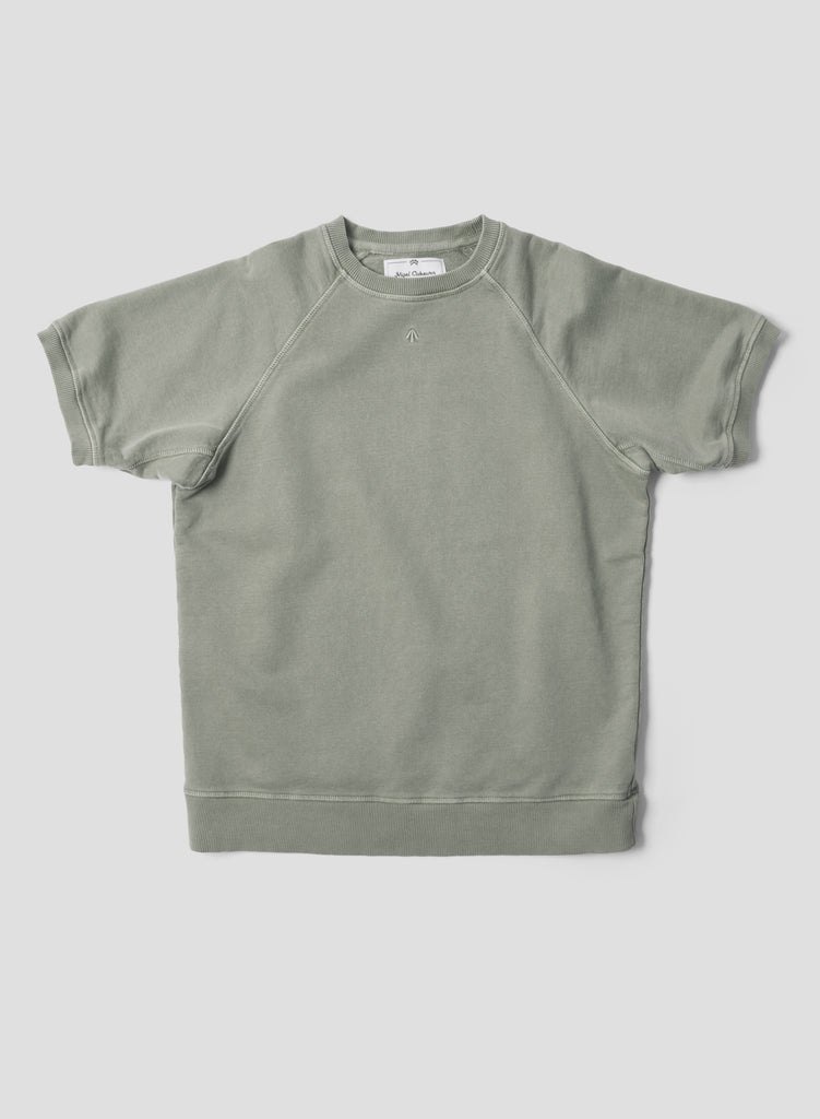 Short Sleeve Crew Neck Sweatshirt in Washed Army