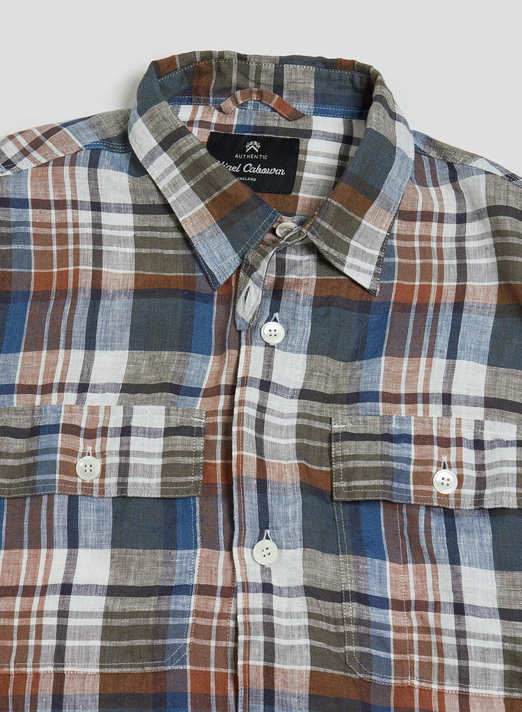 CPO Linen Blue And Brown Check Shirt
