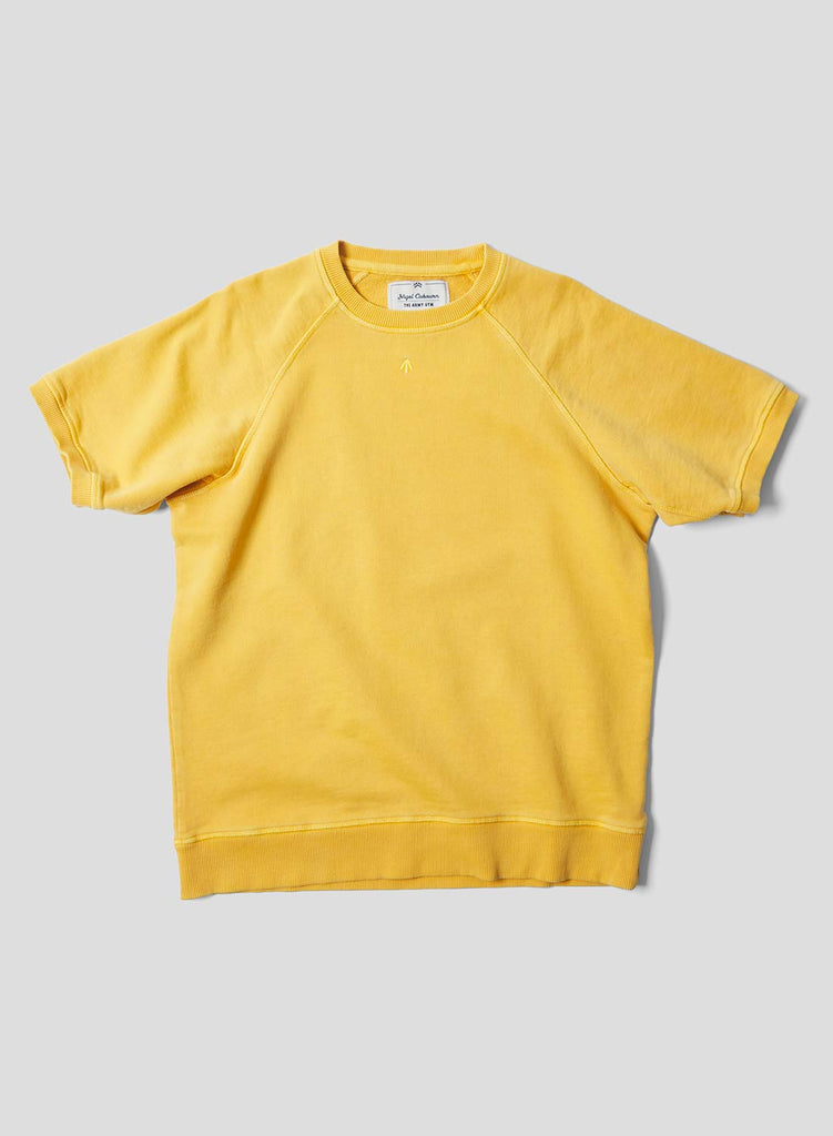 Short Sleeve Crew Neck Sweatshirt in Racing Gold