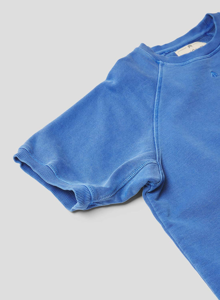 Short Sleeve Crew Neck Sweatshirt in Washed Blue