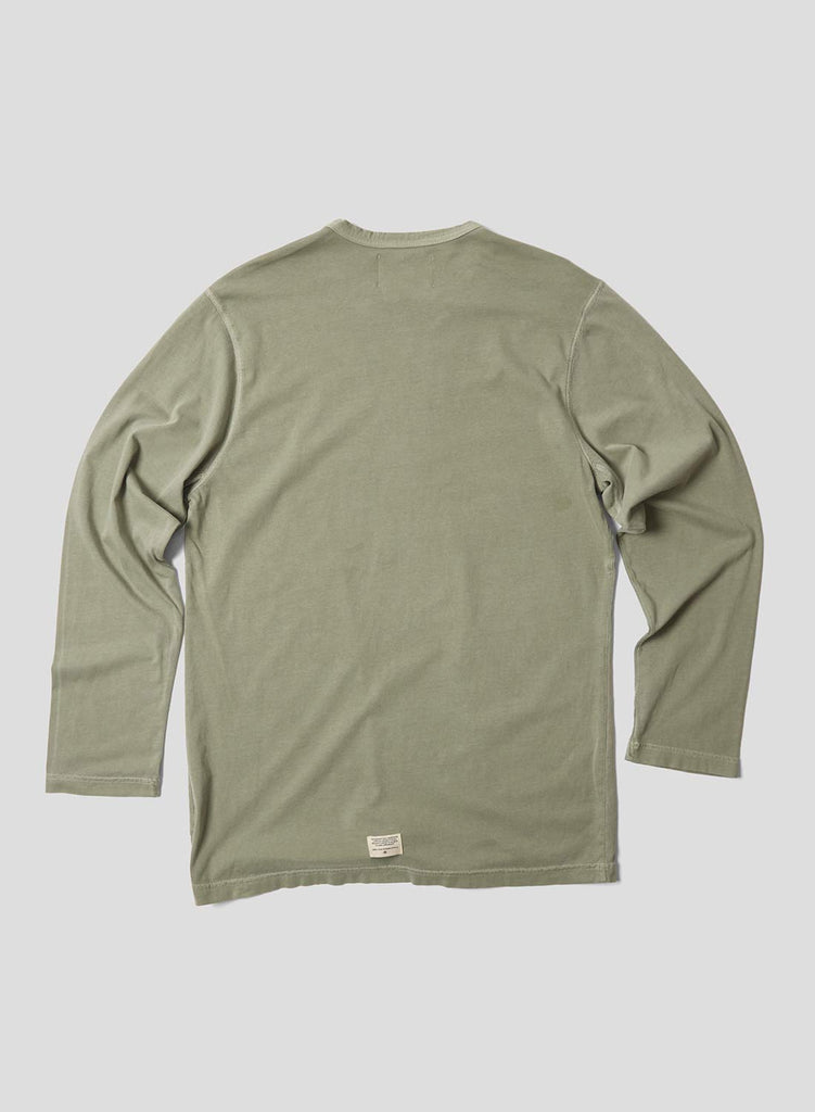 Embroidered Arrow Long Sleeve T Shirt in Washed Army