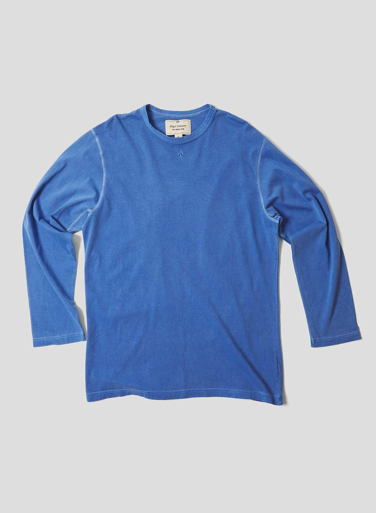 Embroidered Arrow Long Sleeve T Shirt in Washed Blue