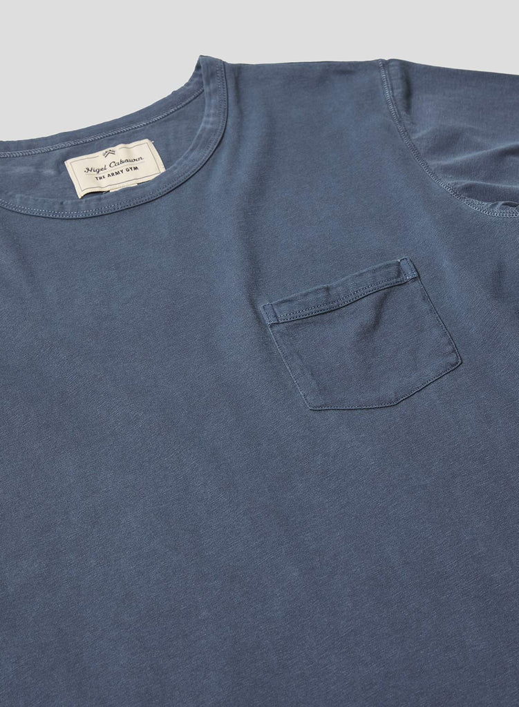 Military Pocket T Shirt in Black Navy
