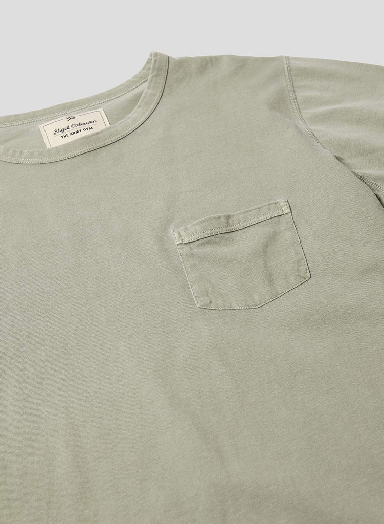 Military Pocket T Shirt in Washed Army