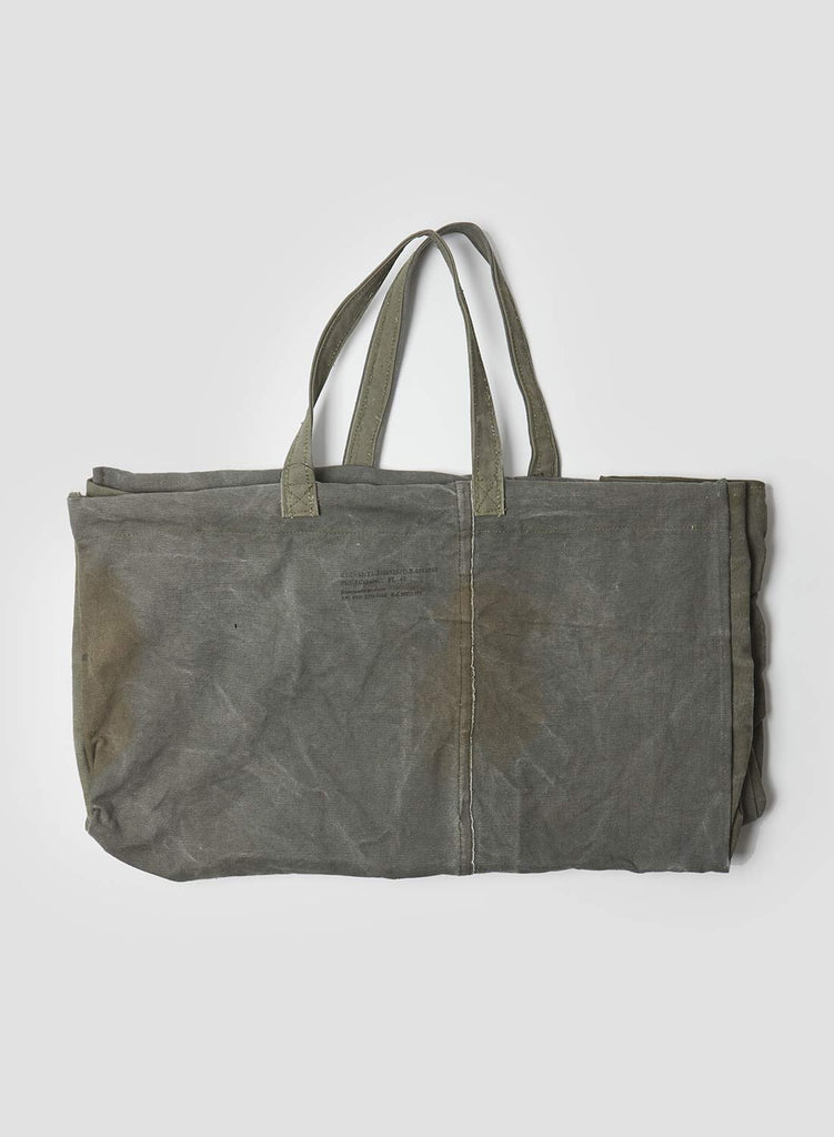 Large Vintage Tent Recycled Fabric Bag in Army Green