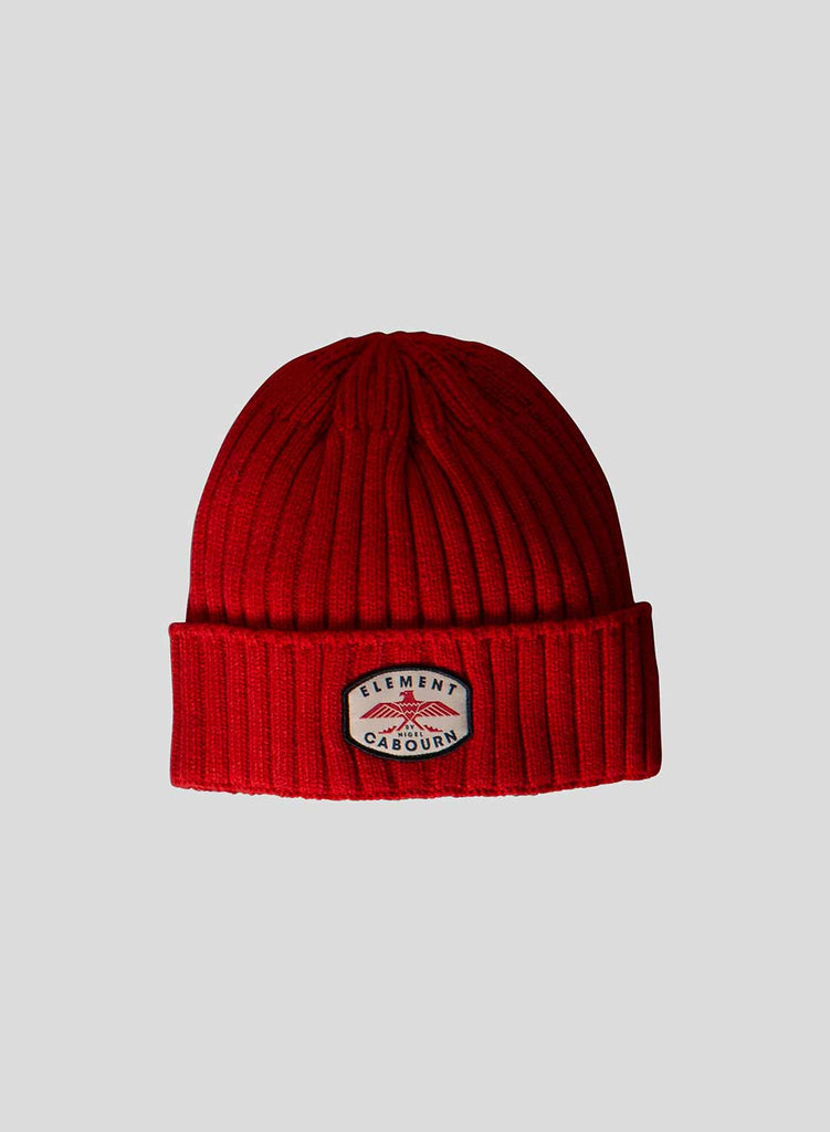 Patch Beanie in Pompeian Red