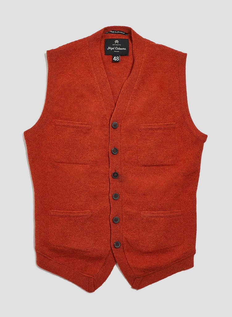 4 Pocket Knitted Vest in Orange