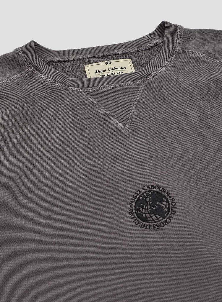 Embroidered Globe Logo Crew Sweat in RAF Grey