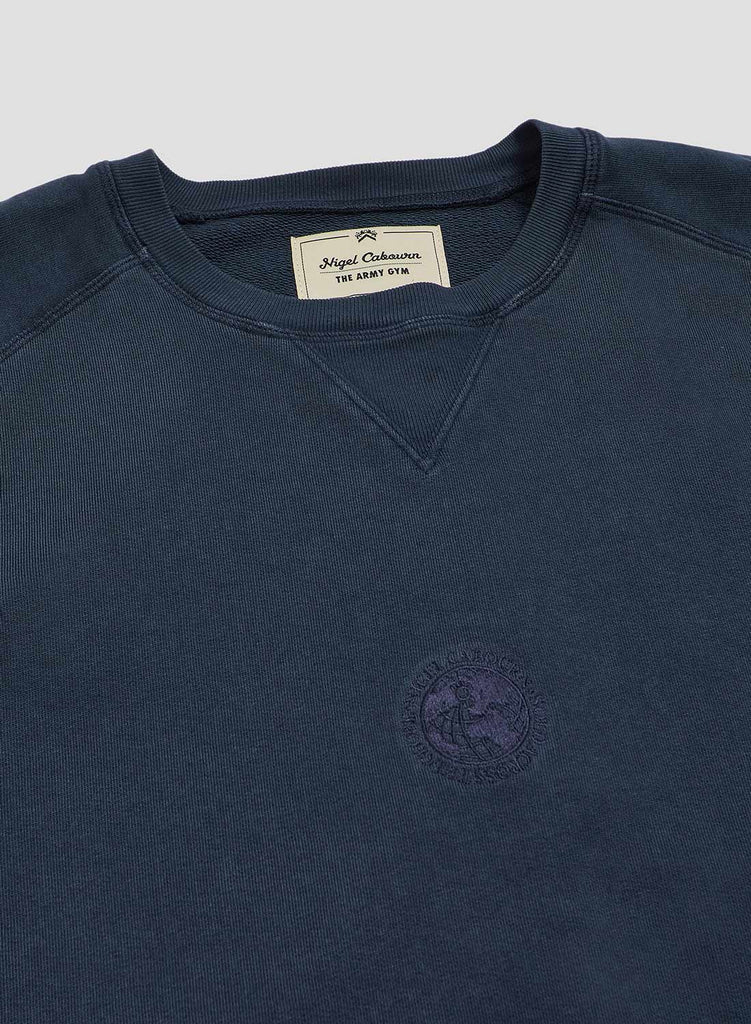 Embroidered Globe Logo Crew Sweat in Black Navy