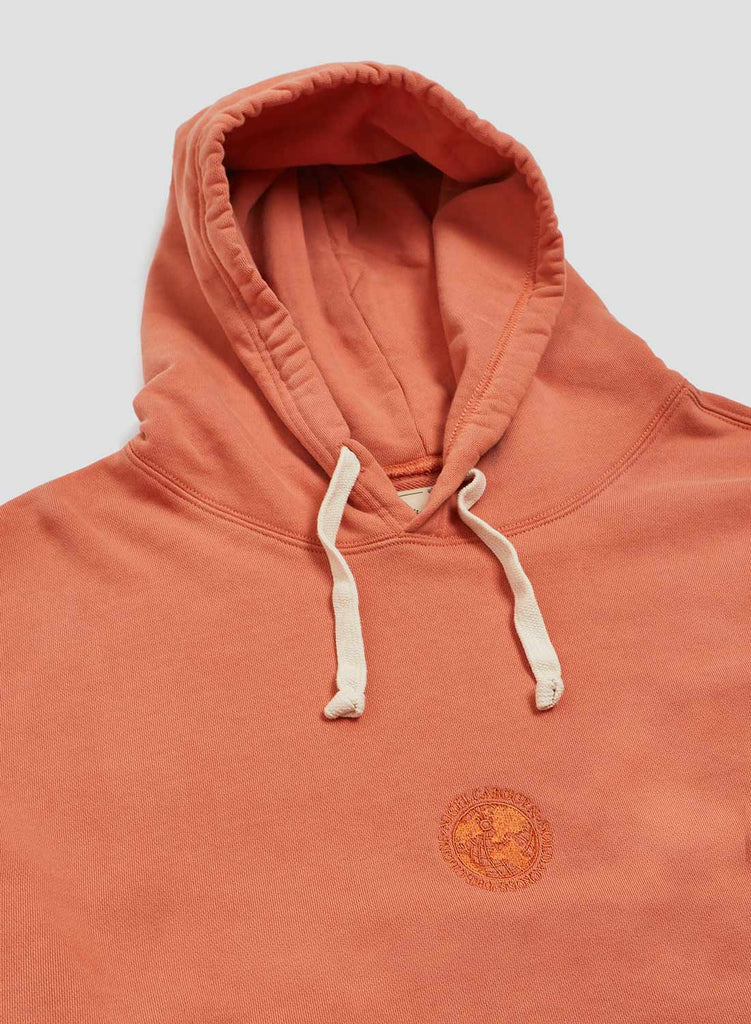 Embroidered Globe Logo Crew Hoodie in Vintage Orange