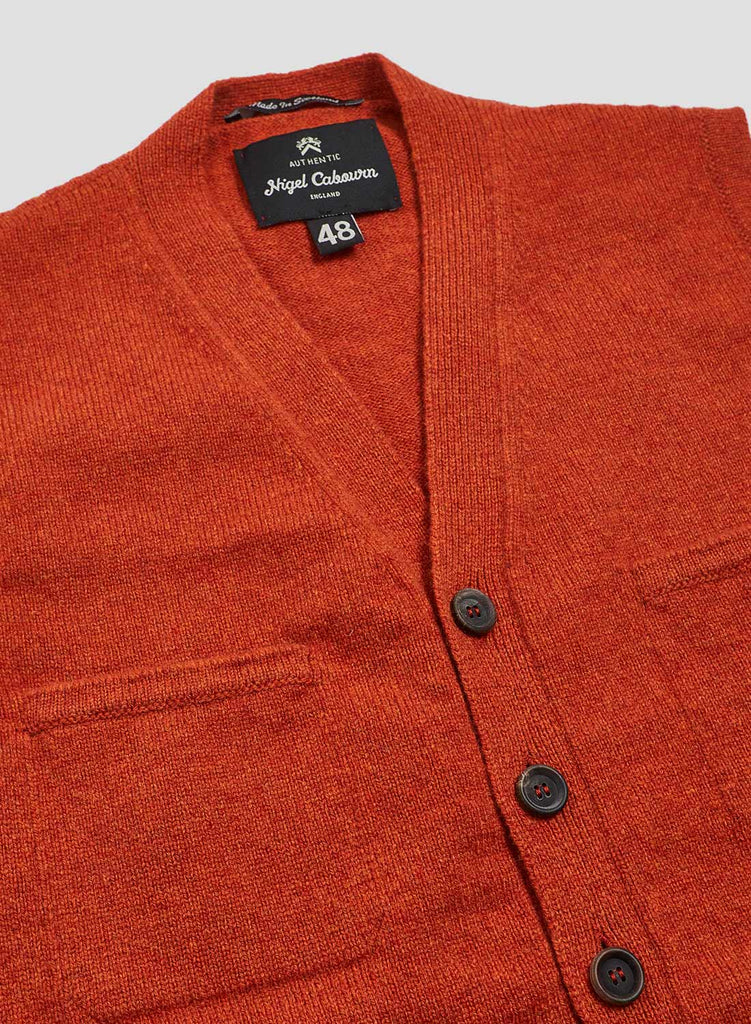 8 Pocket Knitted Vest in Orange
