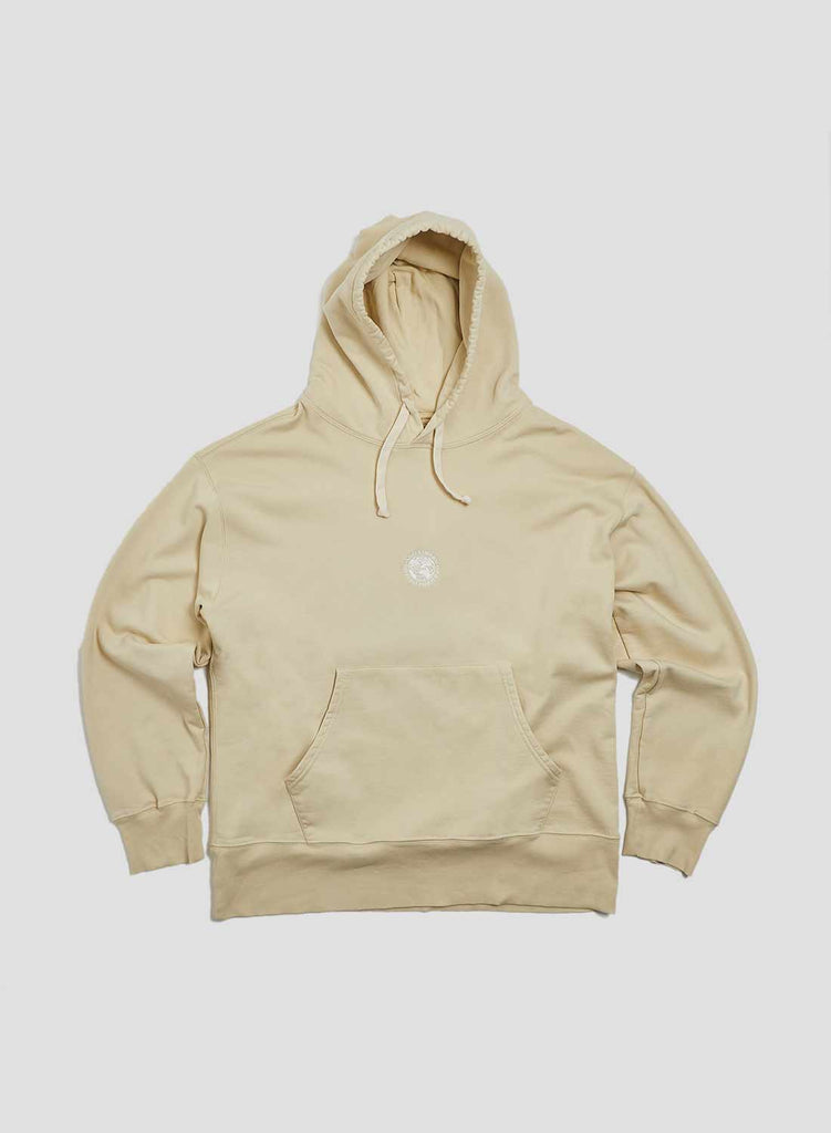 Embroidered Globe Logo Crew Hoodie in Natural
