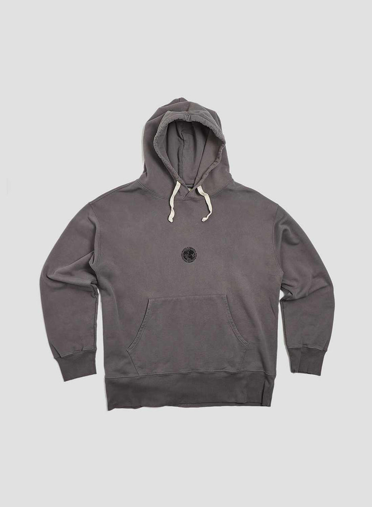 Embroidered Globe Logo Crew Hoodie in RAF Grey
